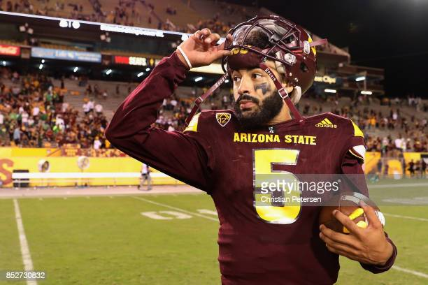 Quarterback Manny Wilkins of the Arizona State Sun Devils stands on the field following the college football game against the Oregon Ducks at Sun...