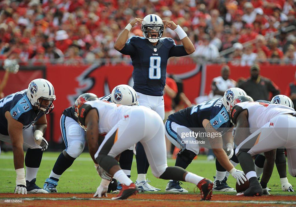 Quarterback Marcus Mariota #8 of the Tennessee Titans calls signals at the line in the first quarter against the Tampa Bay Buccaneers at Raymond James Stadium on September 13, 2015 in Tampa, Florida.