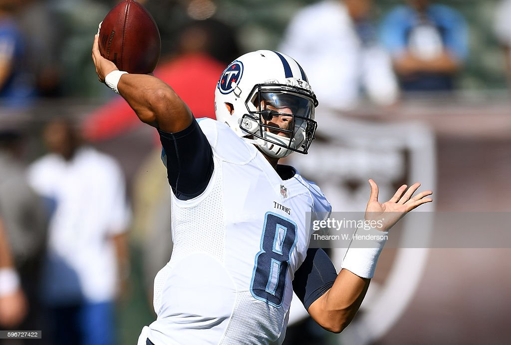 Quarterback Marcus Mariota #8 of the Tennessee Titans warms up during pregame warm ups prior to playing the Oakland Raiders in a preseason game at the Oakland Coliseum on August 27, 2016 in Oakland, California.