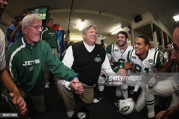 Quarterback Mark Sanchez and Head Coach Rex Ryan of the New York Jets celebrate the victory against the San Diego Chargers when the Chargers host the...