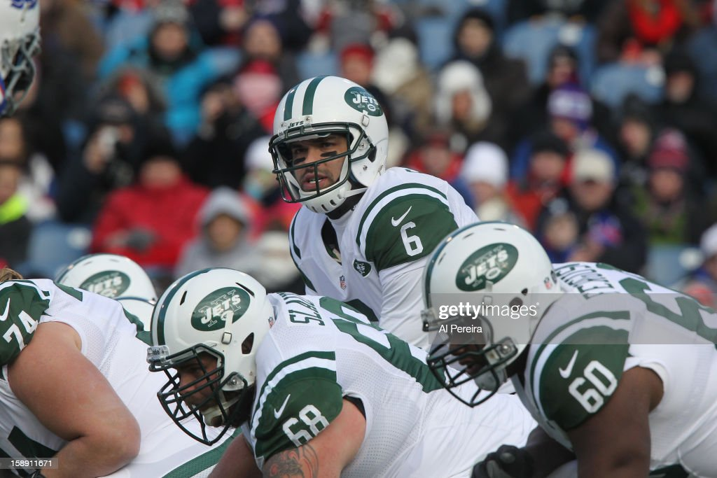 Quarterback Mark Sanchez #6 of the New York Jets calls a play against the Buffalo Bills when the Buffalo Bills host the New York Jets at Ralph Wilson Stadium on December 30, 2012 in Orchard Park, New York.