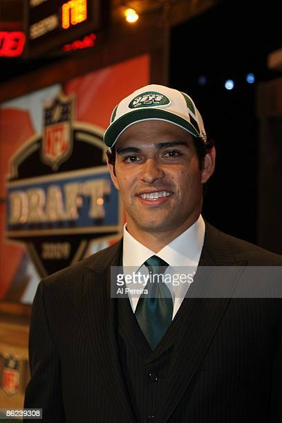 Quarterback Mark Sanchez of the New York Jets smiles as he visits the National Football League Draft at Radio City Music Hall on April 26 2009 in New...