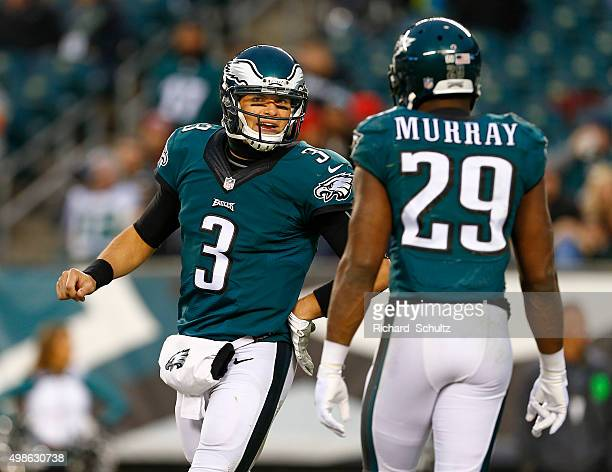 Quarterback Mark Sanchez of the Philadelphia Eagles has words with DeMarco Murray in the fourth quarter against the Tampa Bay Buccaneers at Lincoln...