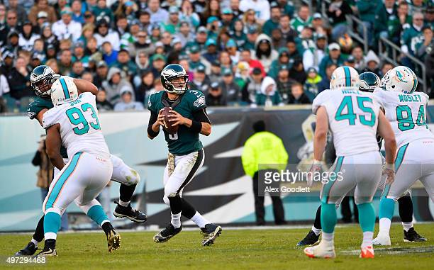 Quarterback Mark Sanchez of the Philadelphia Eagles looks to pass against the Miami Dolphins in the third quarter at Lincoln Financial Field on...