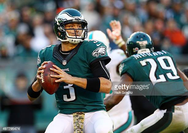Quarterback Mark Sanchez of the Philadelphia Eagles looks to pass against the Miami Dolphins in the fourth quarter at Lincoln Financial Field on...