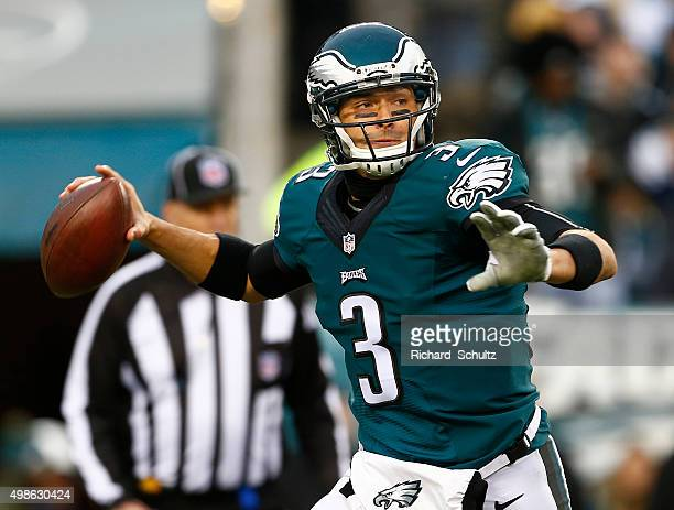 Quarterback Mark Sanchez of the Philadelphia Eagles looks to pass against Tampa Bay Buccaneers in the third quarter at Lincoln Financial Field on...