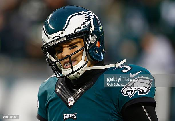 Quarterback Mark Sanchez of the Philadelphia Eagles reacts to throwing an interception in the fourth quarter against the Tampa Bay Buccaneers at...
