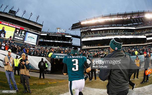Quarterback Mark Sanchez of the Philadelphia Eagles runs into the tunnel after their 4517 loss to the Tampa Bay Buccaneers at Lincoln Financial Field...