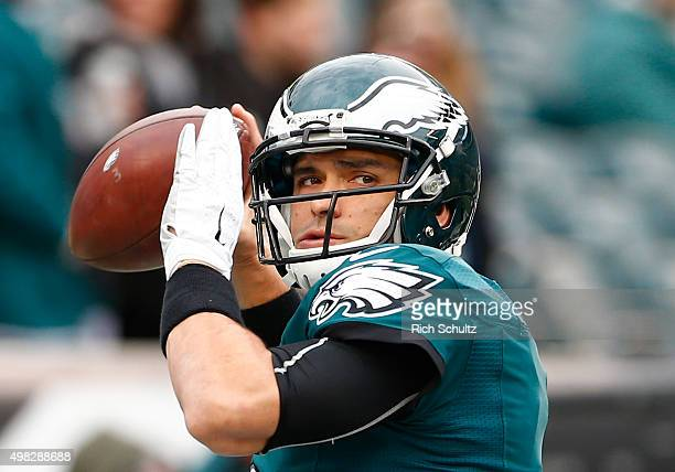 Quarterback Mark Sanchez of the Philadelphia Eagles throws a pass during warmups before the game against the Tampa Bay Buccaneers at Lincoln...