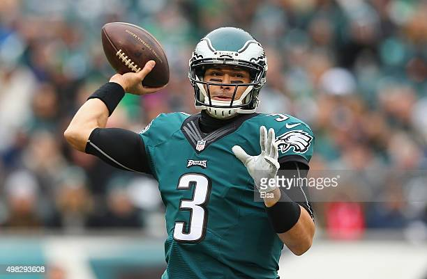 Quarterback Mark Sanchez of the Philadelphia Eagles throws a pass against the Tampa Bay Buccaneers in the first quarter at Lincoln Financial Field on...