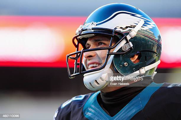Quarterback Mark Sanchez of the Philadelphia Eagles warms up before playing against the Seattle Seahawks at Lincoln Financial Field on December 7...