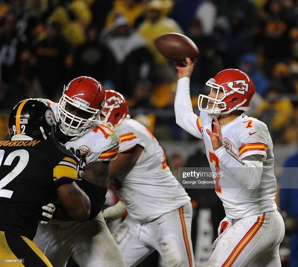 Quarterback Matt Cassel #7 of the Kansas City Chiefs passes as offensive tackle Branden Albert #76 blocks linebacker James Harrison #92 of the Pittsburgh Steelers at Heinz Field on November 12, 2012 in Pittsburgh, Pennsylvania. The Steelers defeated the Chiefs 16-13.