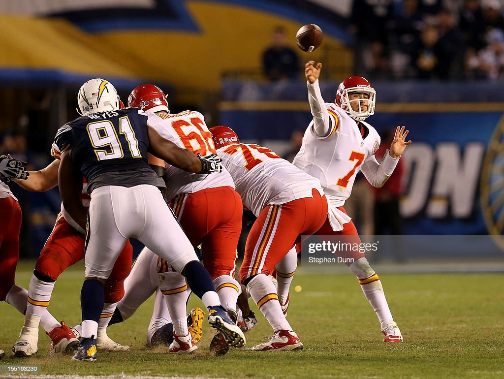 Quarterback <a gi-track='captionPersonalityLinkClicked' href=/galleries/search?phrase=Matt+Cassel&family=editorial&specificpeople=567575 ng-click='$event.stopPropagation()'>Matt Cassel</a> #7 of the Kansas City Chiefs throws a pass against the San Diego Chargers at Qualcomm Stadium on November 1, 2012 in San Diego, California. The Chargers won 31-13.
