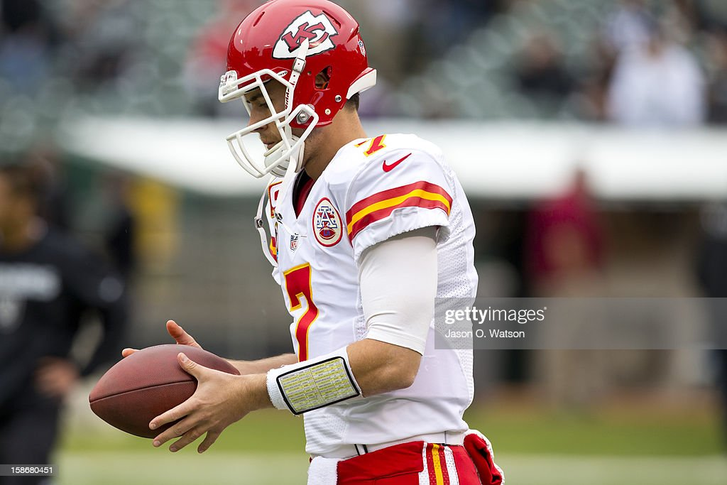 Quarterback Matt Cassel #7 of the Kansas City Chiefs warms up before the game against the Oakland Raiders at O.co Coliseum on December 16, 2012 in Oakland, California. The Oakland Raiders defeated the Kansas City Chiefs 15-0. Photo by Jason O. Watson/Getty Images)