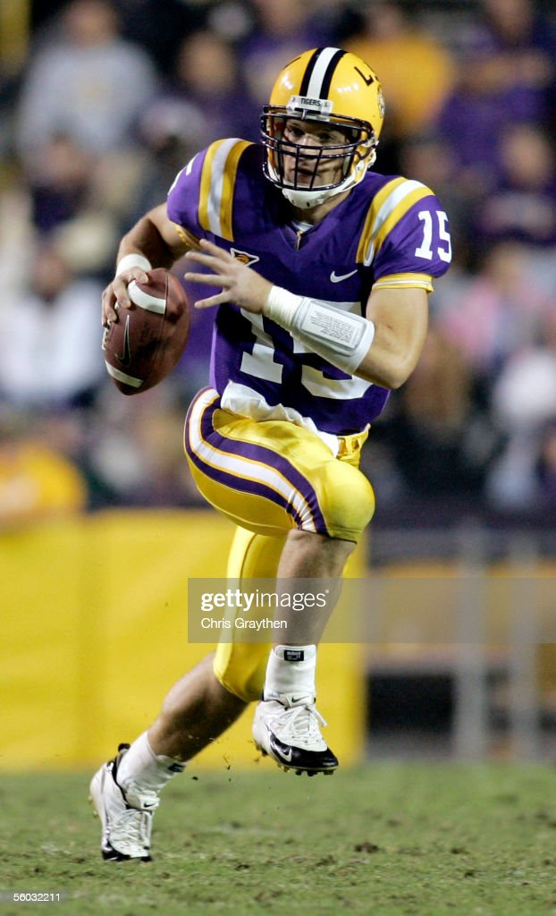 Quarterback Matt Flynn of the LSU Tigers scrambles against the North Texas Eagles at Tiger Stadium on October 29 2005 in Baton Rouge Louisiana LSU...