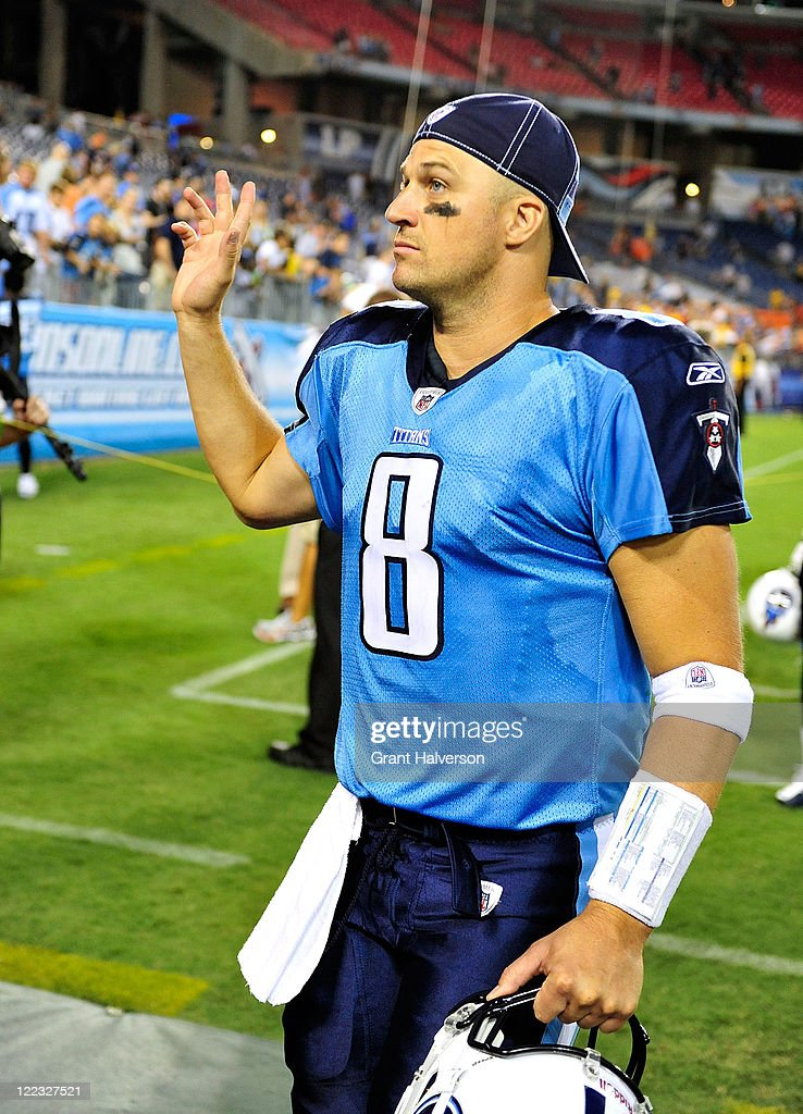 Quarterback <a gi-track='captionPersonalityLinkClicked' href=/galleries/search?phrase=Matt+Hasselbeck&family=editorial&specificpeople=202628 ng-click='$event.stopPropagation()'>Matt Hasselbeck</a> #8 of the Tennessee Titans waves to fans as he leaves the field after a preseason game against the Chicago Bears at LP Field on August 27, 2011 in Nashville, Tennessee. Tennessee defeated Chicago, 14-13.