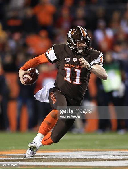 Quarterback Matt Johnson of the Bowling Green Falcons runs the ball during the fourth quarter against the Toledo Rockets at Doyt Perry Stadium on...