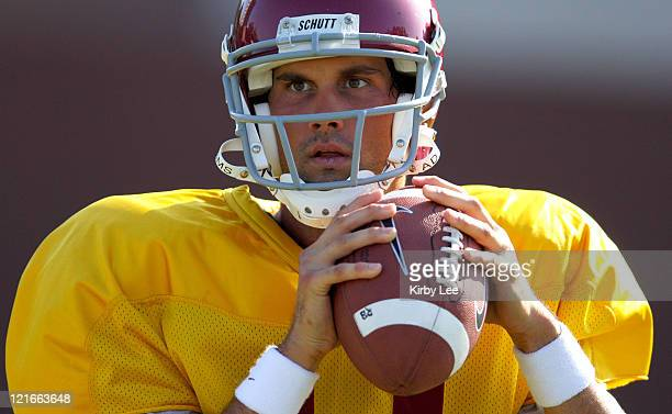 USC quarterback Matt Leinart during practice at Howard Jones Field on the campus of the University of Southern California in Los Angeles Calif on...