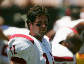Quarterback Matt Leinart of the University of Southern California Trojans watches the game against the University of Hawai'i at Manoa Warriors at...