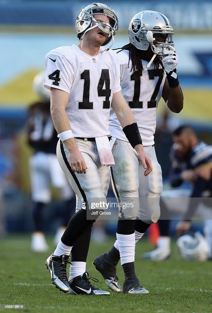 Quarterback Matt McGloin #14 and Denarius Moore #17 of the Oakland Raiders walk off the field in the second half against the San Diego Chargers at Qualcomm Stadium on December 22, 2013 in San Diego, California. The Chargers defeated the Raiders 26-13.