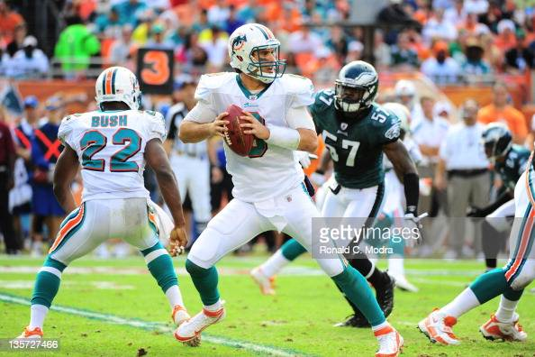 Quarterback Matt Moore of the Miami Dolphins looks for a receiver during a NFL game against the Philadelphia Eagles at Sun Life Stadium on December...
