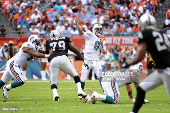Quarterback Matt Moore of the Miami Dolphins passes during a NFL game against the Oakland Raiders at Sun Life Stadium on December 4 2011 in Miami...