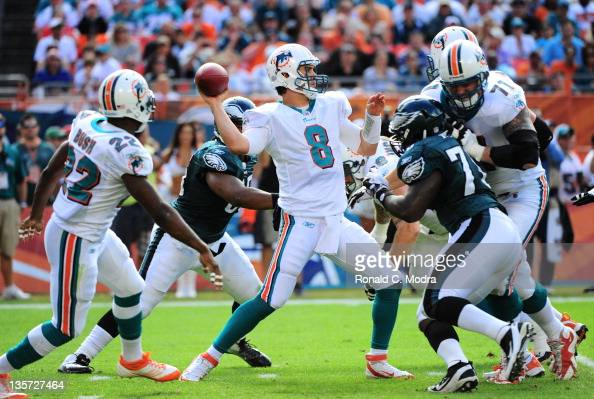 Quarterback Matt Moore of the Miami Dolphins passes during a NFL game against the Philadelphia Eagles at Sun Life Stadium on December 11 2011 in...