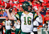 Quarterback Matt Nichols of the Edmonton Eskimos throws a pass against the Calgary Stampeders in the second half of their CFL football game September...