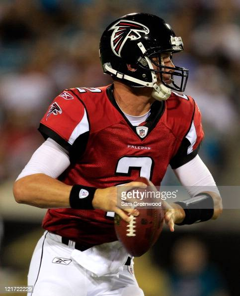 Quarterback Matt Ryan of the Atlanta Falcons attempts a pass during a game against the Jacksonville Jaguars at EverBank Field on August 19 2011 in...