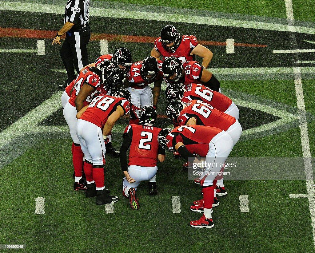 Quarterback Matt Ryan #2 of the Atlanta Falcons calls a play against the San Francisco 49ers during the NFC Championship game at the Georgia Dome on January 20, 2013 in Atlanta, Georgia.