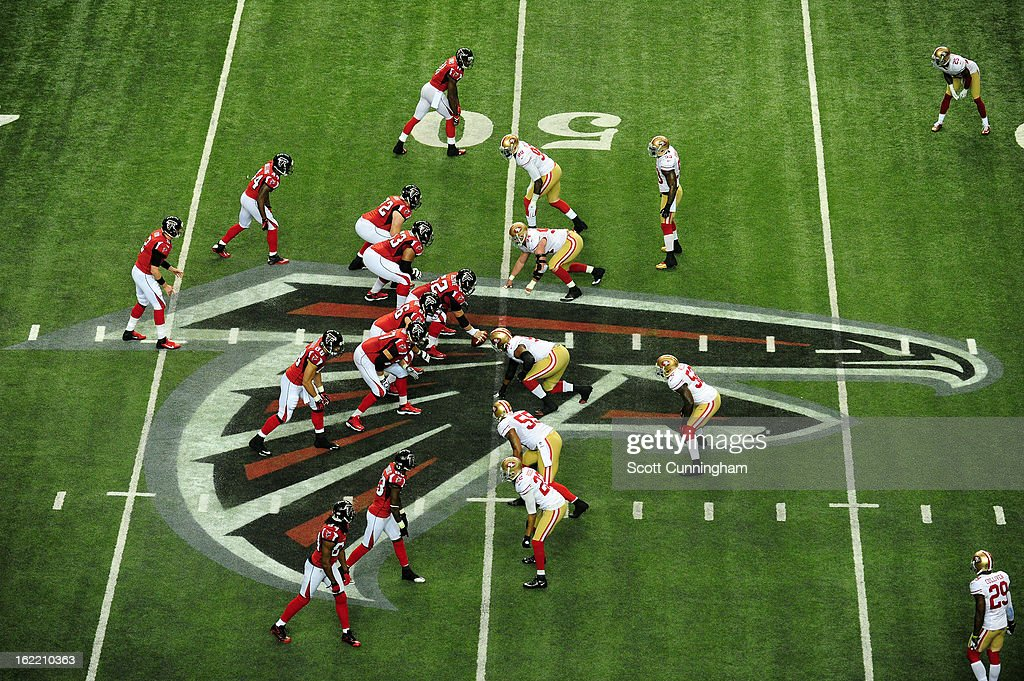 Quarterback Matt Ryan #2 of the Atlanta Falcons calls a play against the San Francisco 49ers during the NFC Championship game at the Georgia Dome on January 20, 2013 in Atlanta, Georgia.
