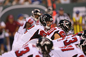 Quarterback Matt Ryan of the Atlanta Falcons calls a play against the New York Jets at MetLife Stadium on August 21 2015 in East Rutherford New Jersey