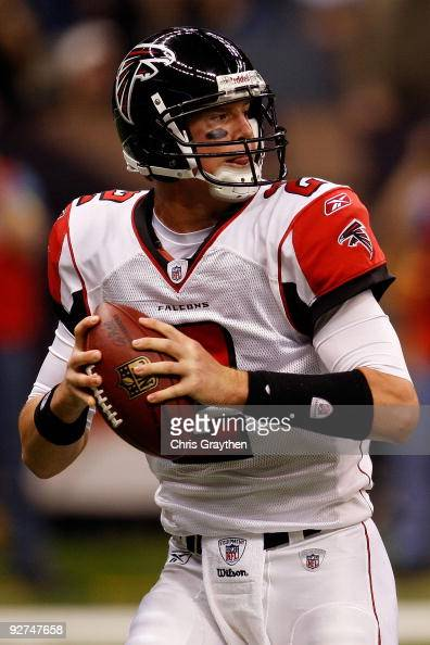 Quarterback Matt Ryan of the Atlanta Falcons drops back during the game against the New Orleans Saints at Louisana Superdome on November 2 2009 in...
