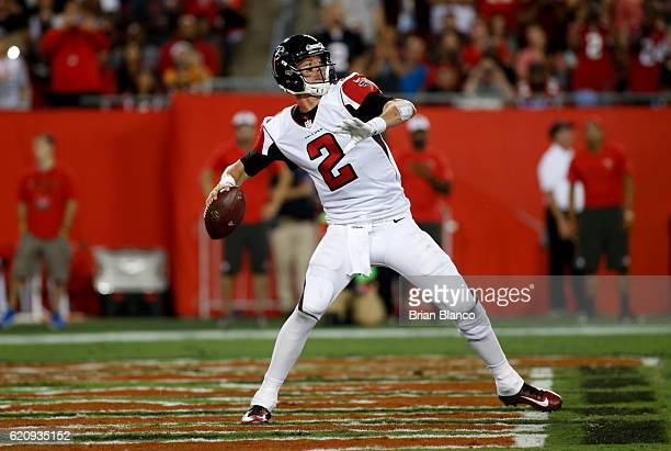 Quarterback Matt Ryan of the Atlanta Falcons drops back to pass during the second quarter of an NFL game against the Tampa Bay Buccaneers on November...