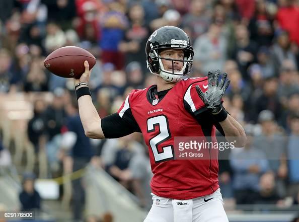 Quarterback Matt Ryan of the Atlanta Falcons drops back to pass against the Los Angeles Rams in the second quarter at Los Angeles Memorial Coliseum...