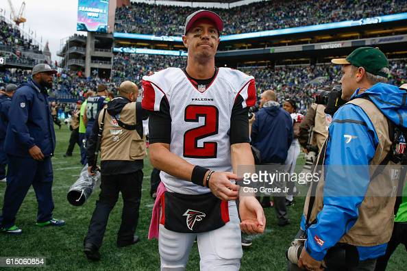 Quarterback Matt Ryan of the Atlanta Falcons heads off the field after the game against the Seattle Seahawks at CenturyLink Field on October 16 2016...