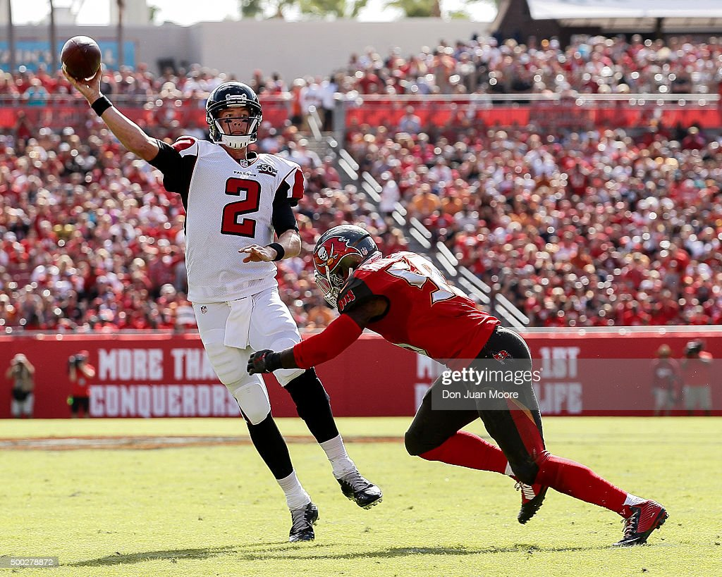 Quarterback <a gi-track='captionPersonalityLinkClicked' href=/galleries/search?phrase=Matt+Ryan+-+American+Football+Player&family=editorial&specificpeople=4951318 ng-click='$event.stopPropagation()'>Matt Ryan</a> #2 of the Atlanta Falcons is forced out of the pocket by Linebacker Kwon Alexanders #51 during the game against the Tampa Bay Buccaneers at Raymond James Stadium on December 6, 2015 in Tampa, Florida. The Buccaneers defeated the Falcons 23 to 19.