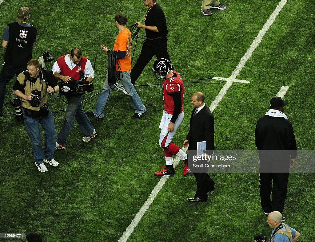 Quarterback Matt Ryan #2 of the Atlanta Falcons leaves the field after losing the NFC Championship game against the San Francisco 49ers at the Georgia Dome on January 20, 2013 in Atlanta, Georgia.