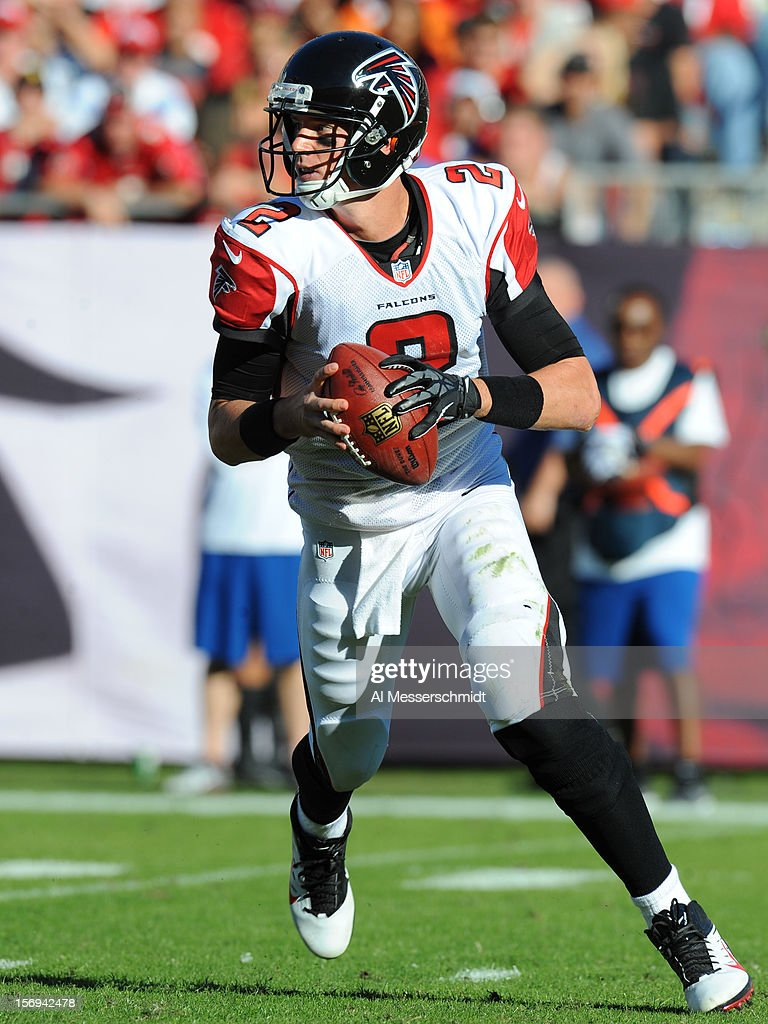 Quarterback Matt Ryan #2 of the Atlanta Falcons looks to pass against the Tampa Bay Buccaneers November 25, 2012 at Raymond James Stadium in Tampa, Florida. The Falcons won 24 - 23.
