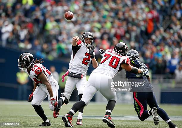 Quarterback Matt Ryan of the Atlanta Falcons passes against the Seattle Seahawks at CenturyLink Field on October 16 2016 in Seattle Washington