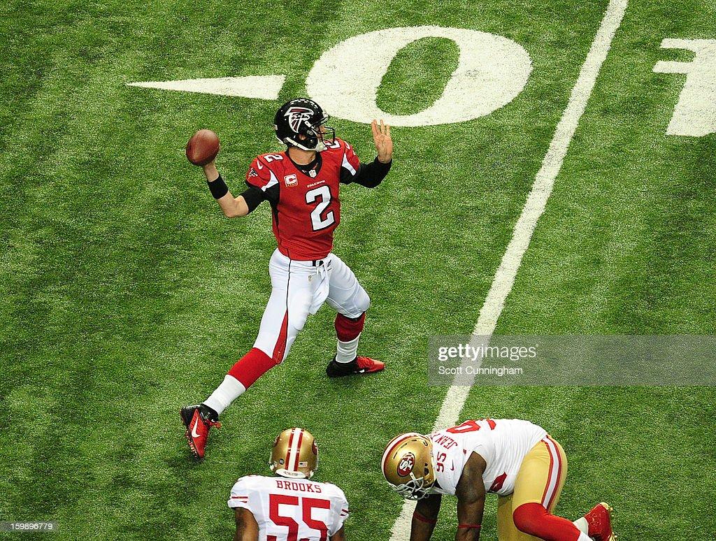 Quarterback Matt Ryan #2 of the Atlanta Falcons passes against the San Francisco 49ers during the NFC Championship game at the Georgia Dome on January 20, 2013 in Atlanta, Georgia.