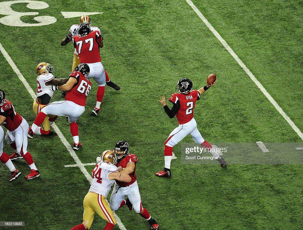 Quarterback Matt Ryan #2 of the Atlanta Falcons passes against the San Francisco 49ers during the NFC Championship game at the Georgia Dome on January 20, 2013 in Atlanta, Georgia.