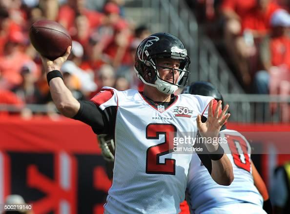 Quarterback Matt Ryan of the Atlanta Falcons passes in the first quarter against the Tampa Bay Buccaneers at Raymond James Stadium on December 6 2015...