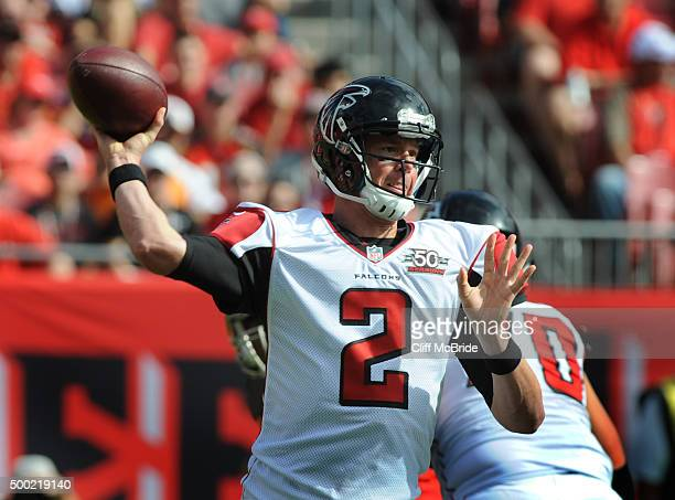 Quarterback Matt Ryan of the Atlanta Falcons passes in the first quarter against the Tampa Bay Buccaneers at Raymond James Stadium on December 6 2015...