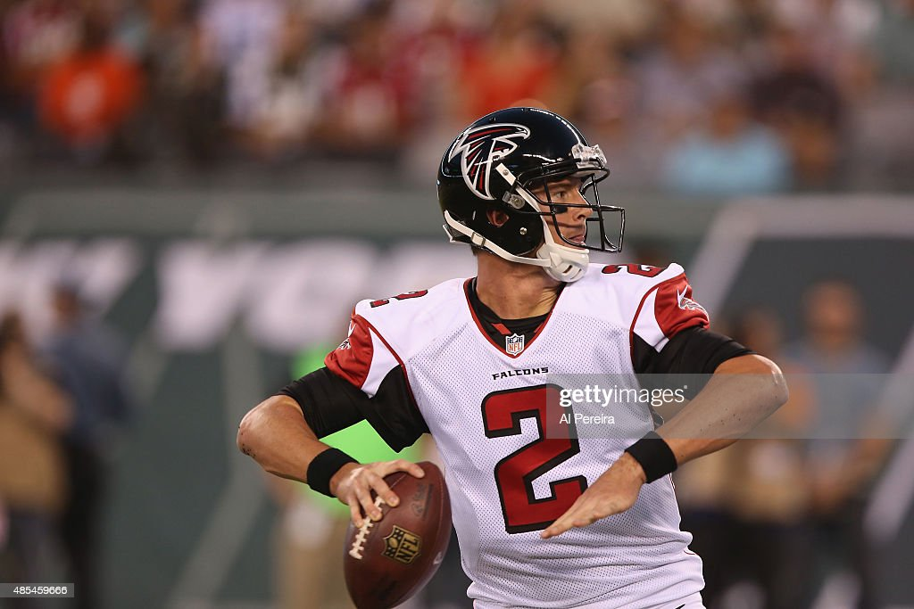 Quarterback <a gi-track='captionPersonalityLinkClicked' href=/galleries/search?phrase=Matt+Ryan+-+American+Football+Player&family=editorial&specificpeople=4951318 ng-click='$event.stopPropagation()'>Matt Ryan</a> #2 of the Atlanta Falcons passes the ball against the New York Jets at MetLife Stadium on August 21, 2015 in East Rutherford, New Jersey.