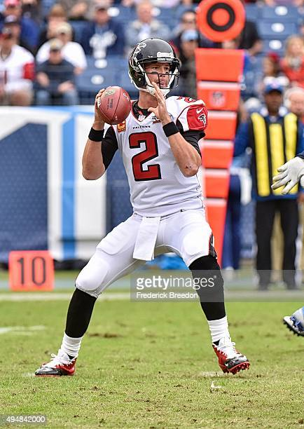 Quarterback Matt Ryan of the Atlanta Falcons plays against the Tennessee Titans at Nissan Stadium on October 25 2015 in Nashville Tennessee