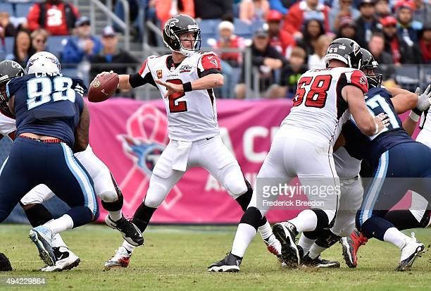 Quarterback Matt Ryan of the Atlanta Falcons throws a pass against the Tennessee Titans during the first half at Nissan Stadium on October 25 2015 in...