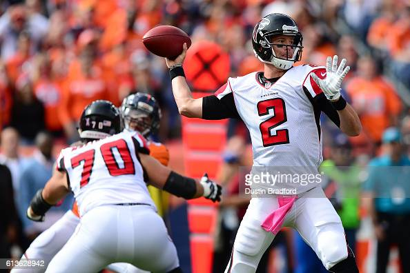 Quarterback Matt Ryan of the Atlanta Falcons throws in the game against the Denver Broncos at Sports Authority Field at Mile High on October 9 2016...
