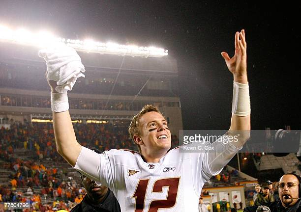 Quarterback Matt Ryan of the Boston College Eagles celebrates towards the fans after their 1410 win over the Virginia Tech Hokies in the final...