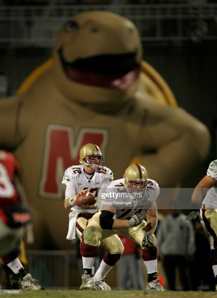 Quarterback Matt Ryan of the Boston College Eagles takes the snap in the fourth quarter as the Maryland Terrapin looms large at Byrd Stadium on...